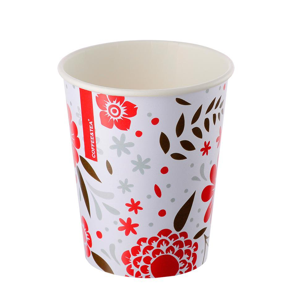Single-layer cup 'Flowers' white