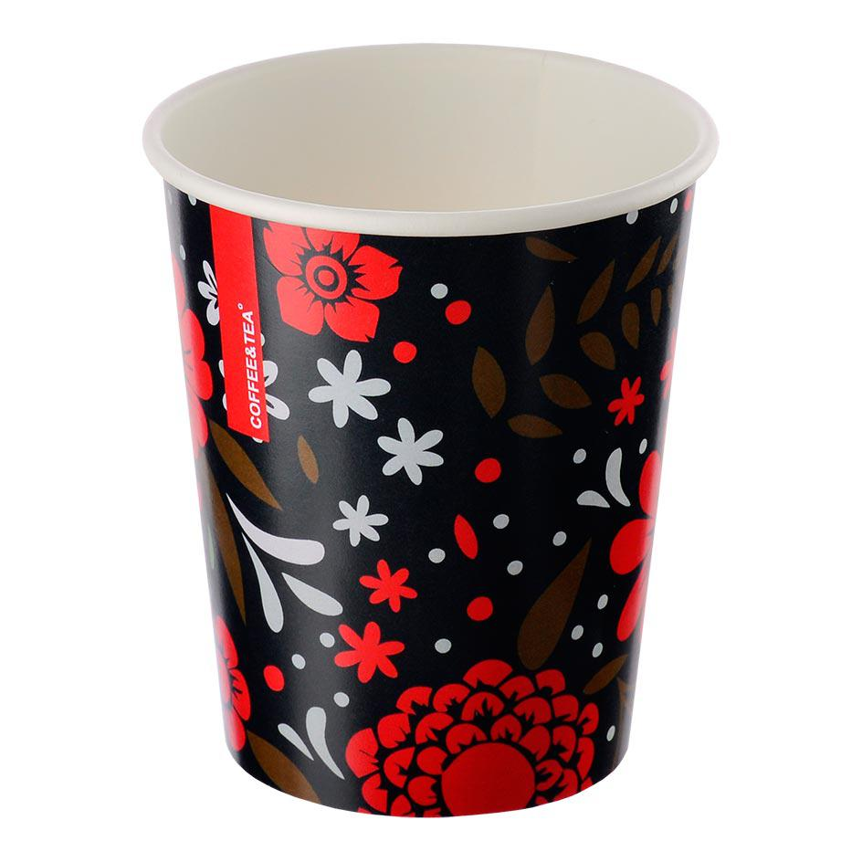 Single-layer cup 'Flowers' black