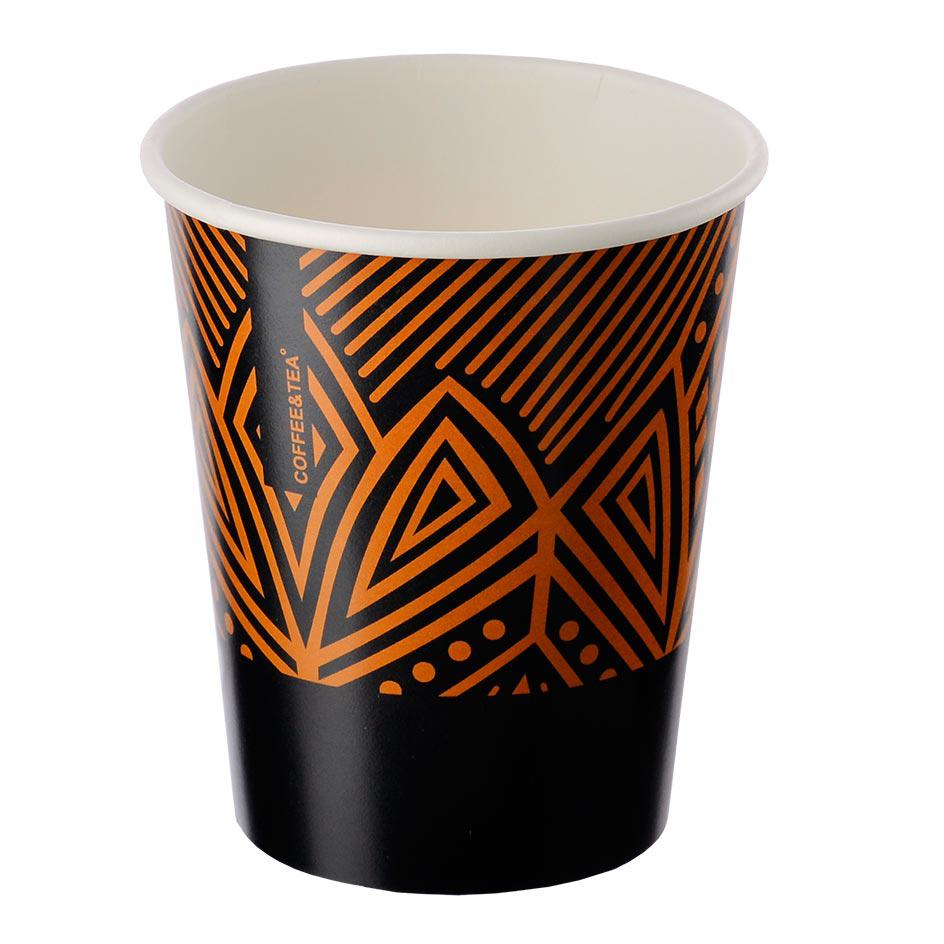 Single-layer cup black with orange pattern