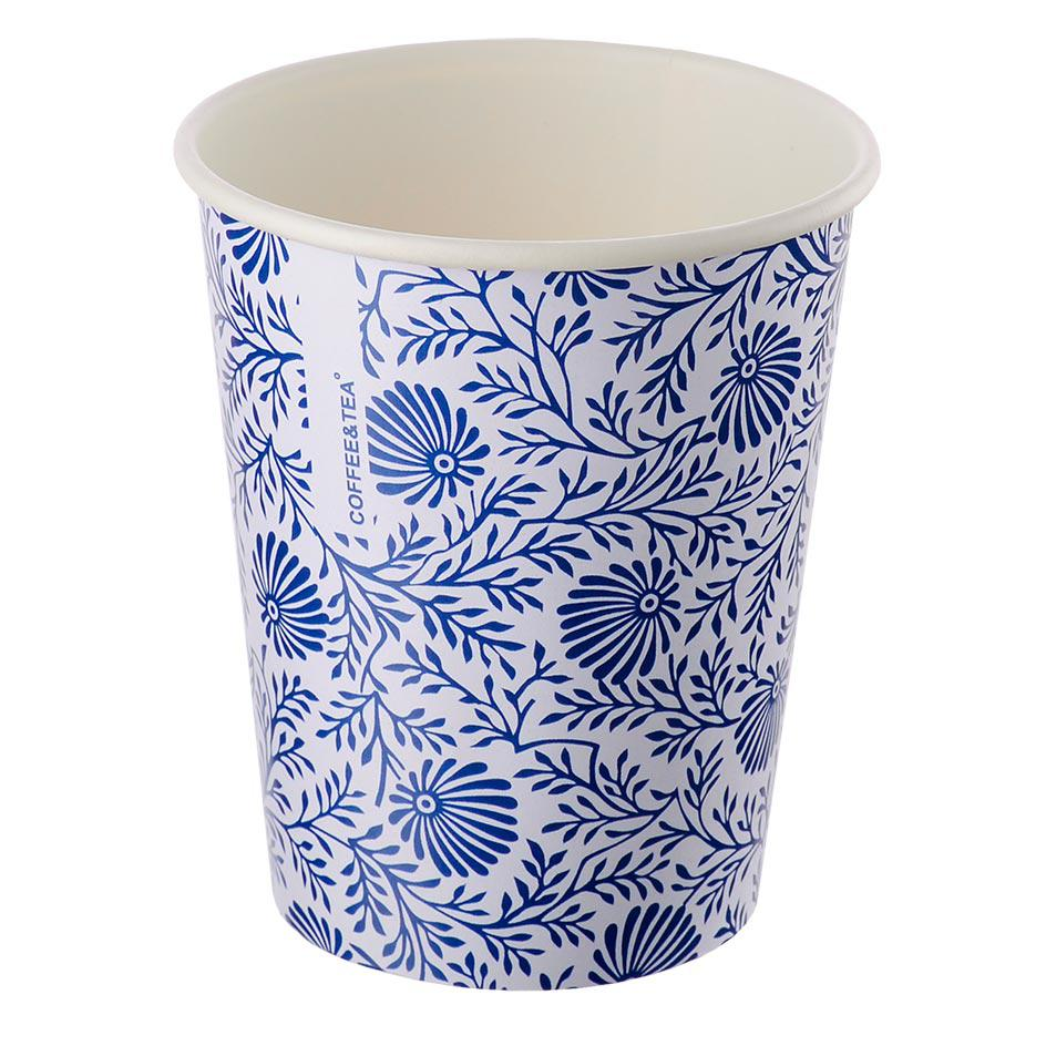 Single-layer cup white with a blue pattern