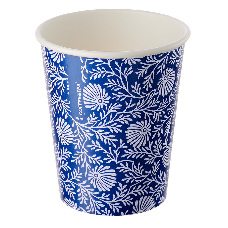 Single-layer cup blue with a white pattern