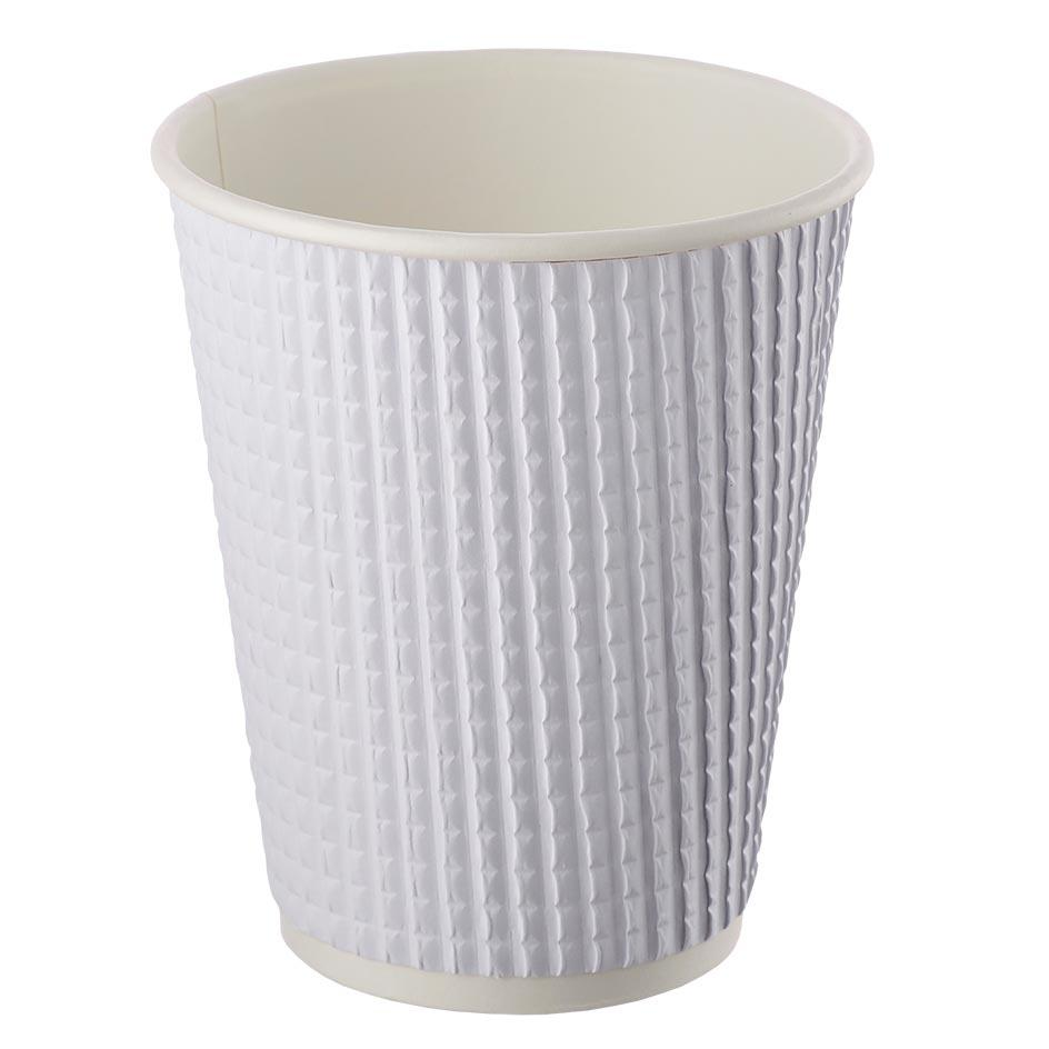 Three-layer corrugated cup white ripped