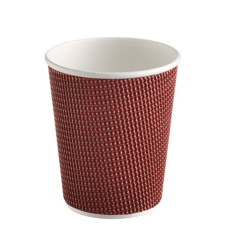Three-layer corrugated cup maroon, 3D