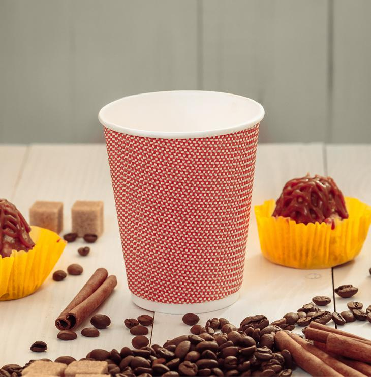 Three-layer corrugated cup red