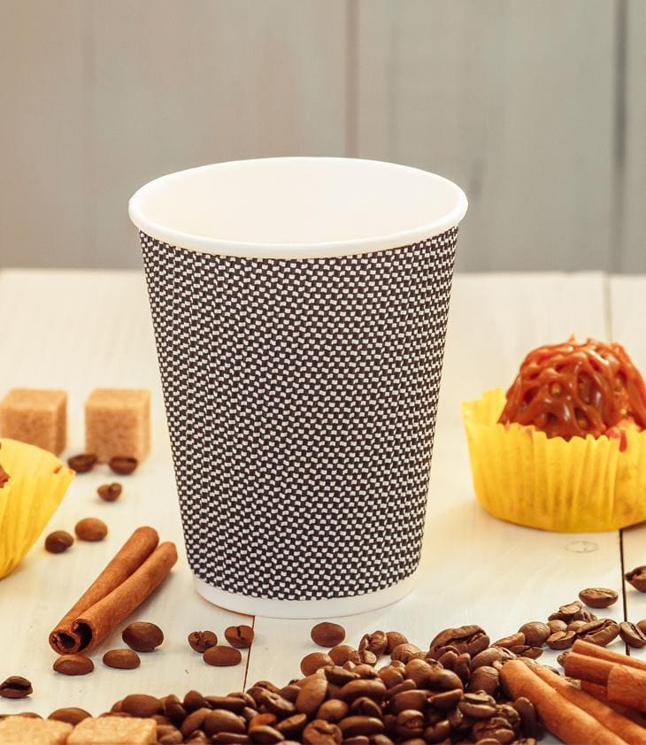 Three-layer corrugated cup black