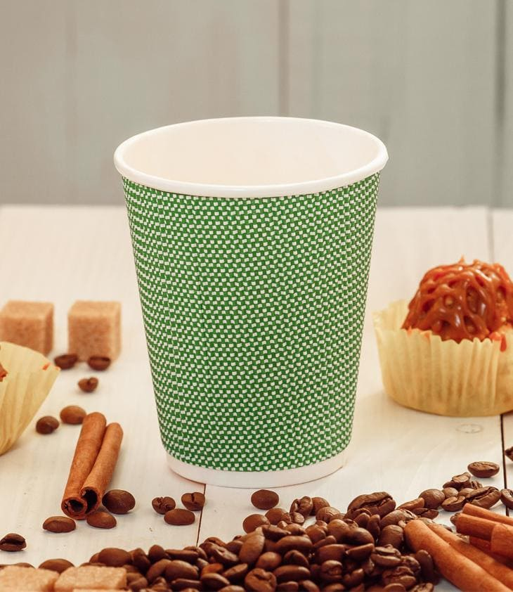 Three-layer corrugated cup green