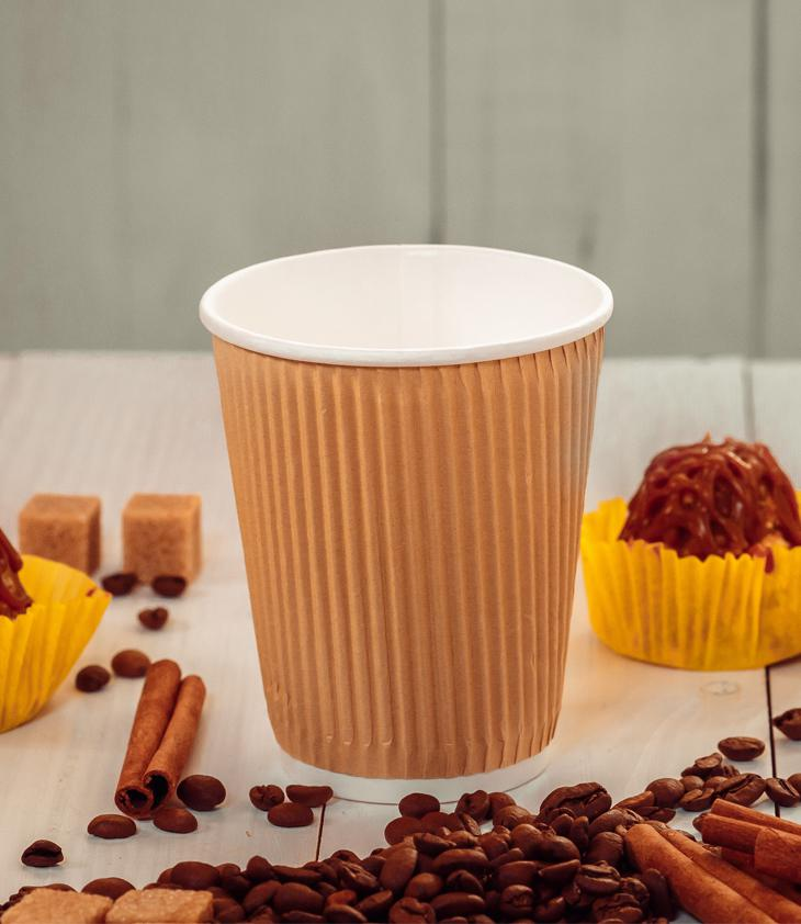 Three-layer corrugated cup kraft