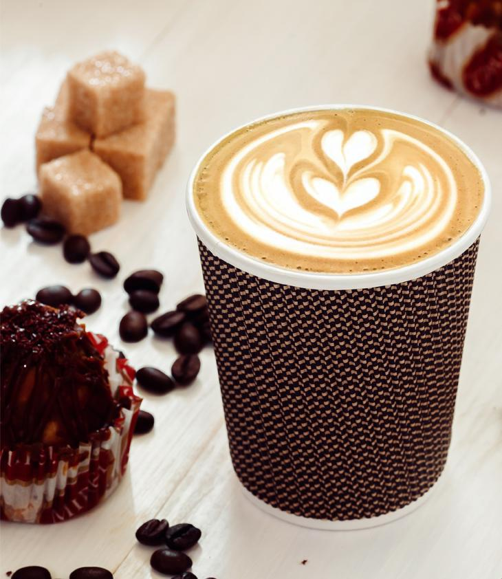 Three-layer corrugated cup